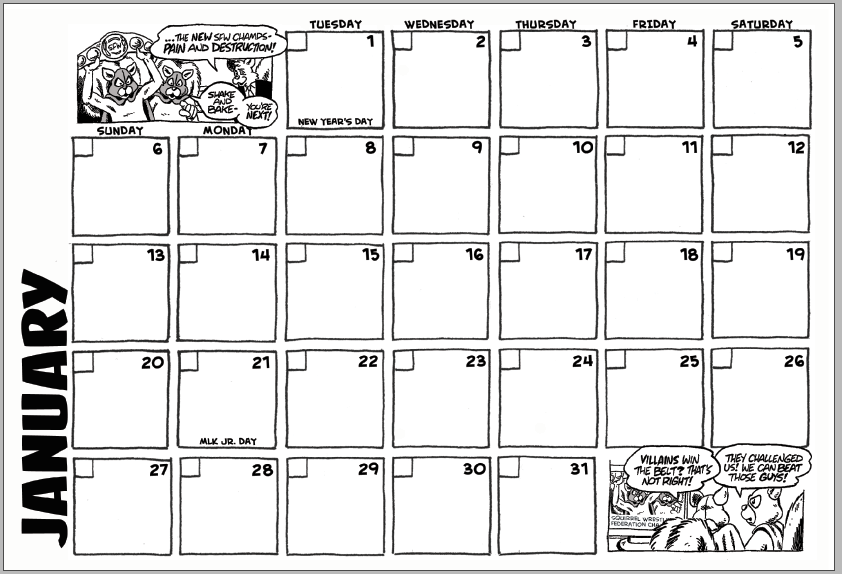 Mickey Mart 2019 Calendar - January Grid