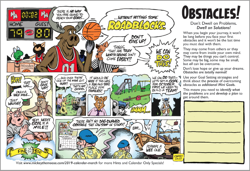 Overcoming Obstacles Mickey Mart Calendar March